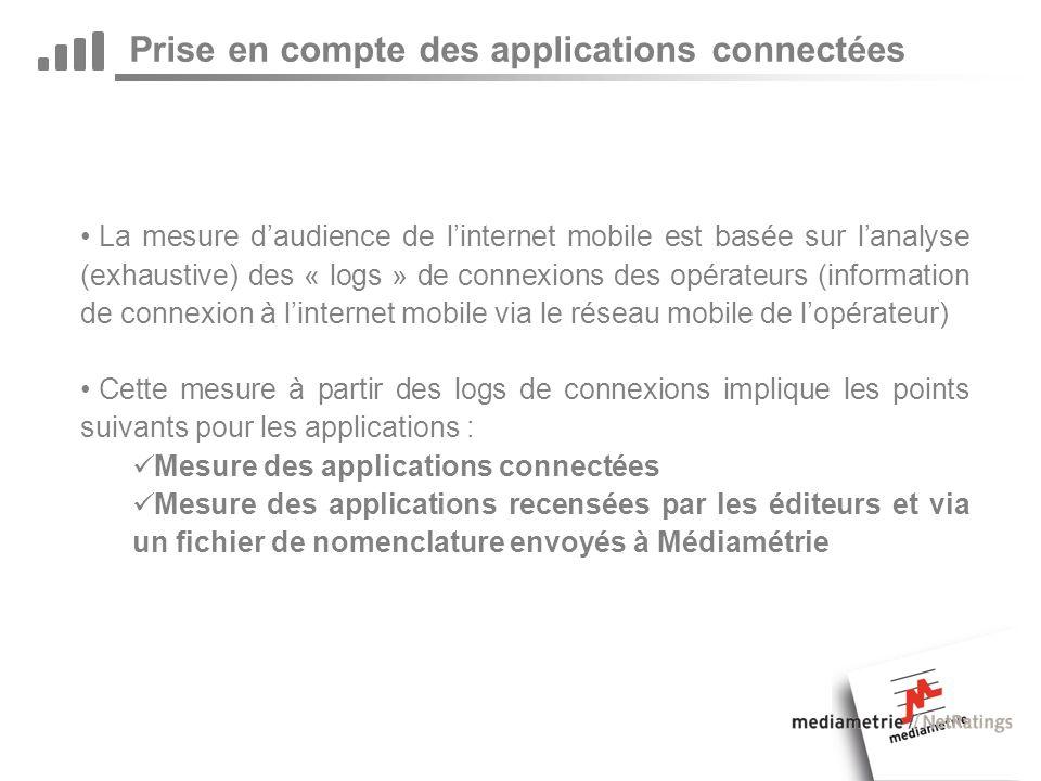 Prise en compte des applications connectées La mesure daudience de linternet mobile est basée sur lanalyse (exhaustive) des « logs » de connexions des