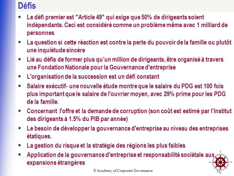 © Academy of Corporate Governance 11 Défis Le défi premier est