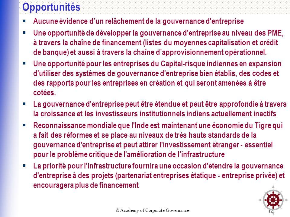 © Academy of Corporate Governance 12 Opportunités Aucune évidence dun relâchement de la gouvernance d'entreprise Une opportunité de développer la gouv