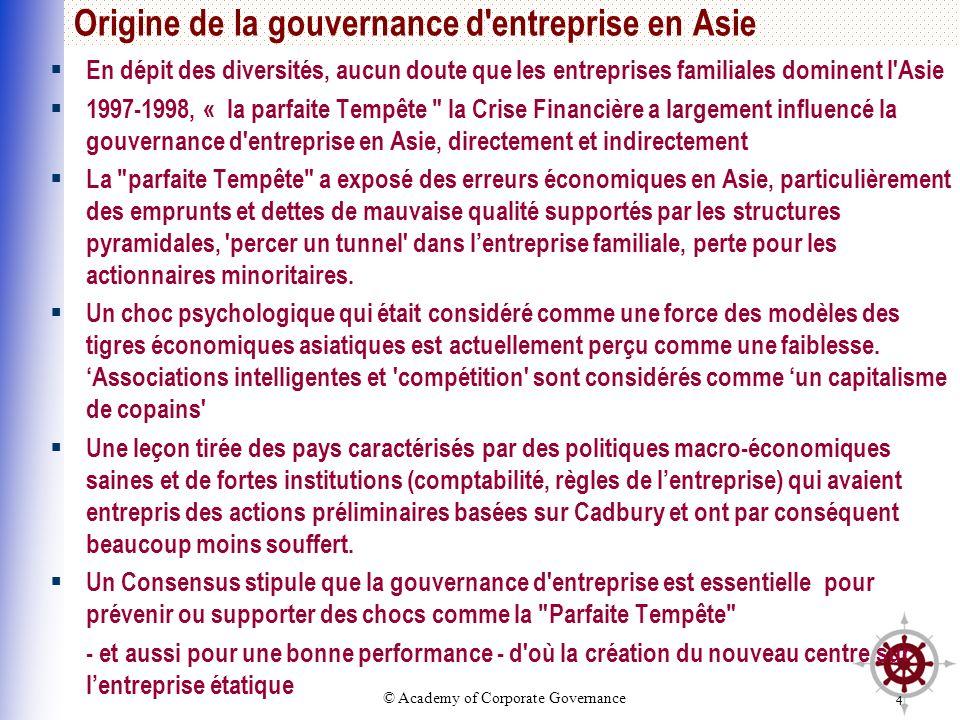 © Academy of Corporate Governance 4 Origine de la gouvernance d'entreprise en Asie En dépit des diversités, aucun doute que les entreprises familiales