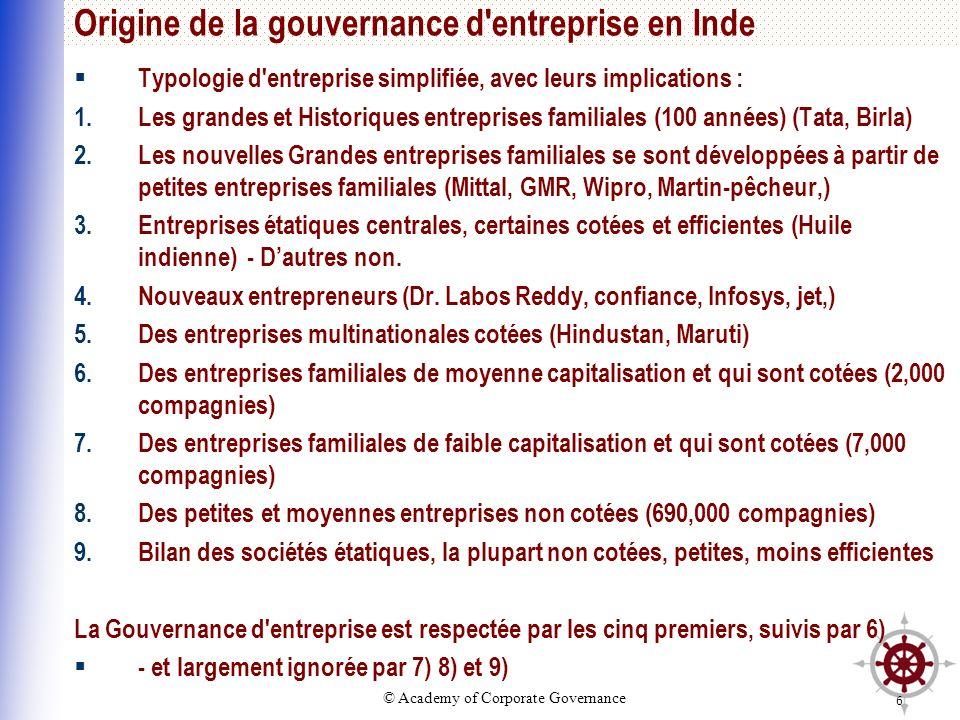 © Academy of Corporate Governance 6 Origine de la gouvernance d'entreprise en Inde Typologie d'entreprise simplifiée, avec leurs implications : 1.Les