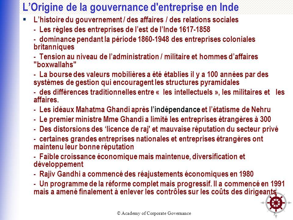 © Academy of Corporate Governance 7 LOrigine de la gouvernance d'entreprise en Inde Lhistoire du gouvernement / des affaires / des relations sociales