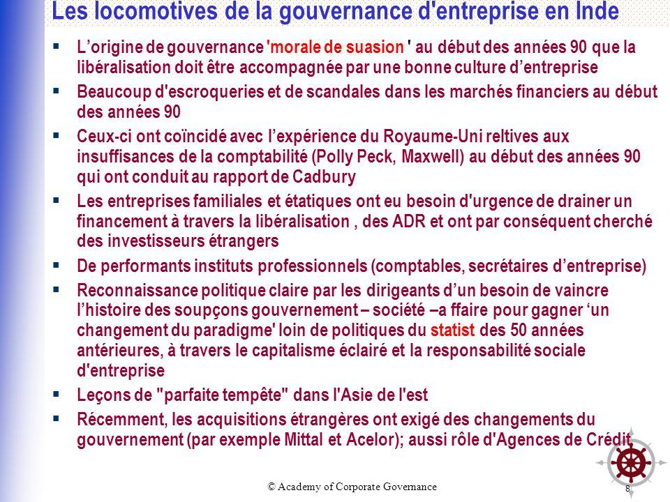 © Academy of Corporate Governance 8 Les locomotives de la gouvernance d'entreprise en Inde Lorigine de gouvernance 'morale de suasion ' au début des a