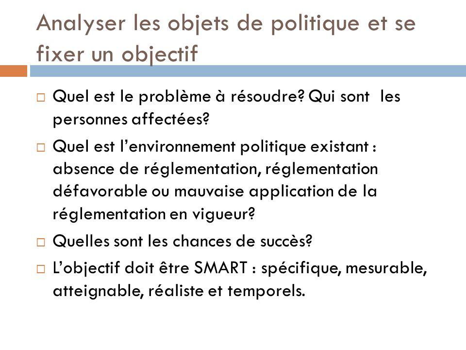 Identifier les acteurs et les institutions clés Qui prend les décisions au sujet des politiques identifiées (public primaire) .