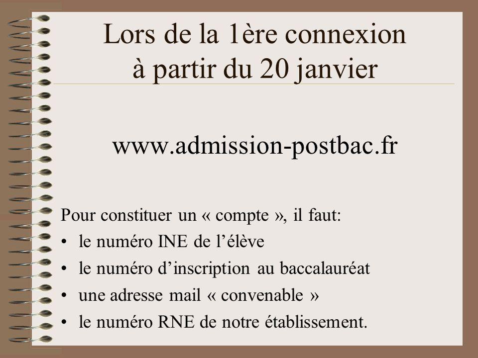 Lors de la 1ère connexion à partir du 20 janvier www.admission-postbac.fr Pour constituer un « compte », il faut: le numéro INE de lélève le numéro di