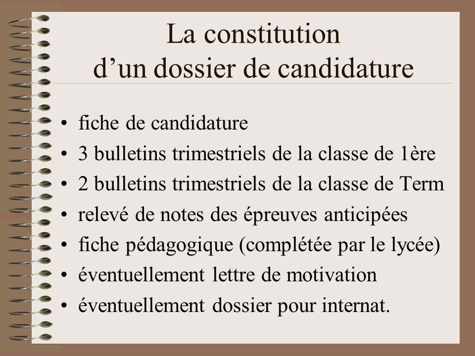 La constitution dun dossier de candidature fiche de candidature 3 bulletins trimestriels de la classe de 1ère 2 bulletins trimestriels de la classe de