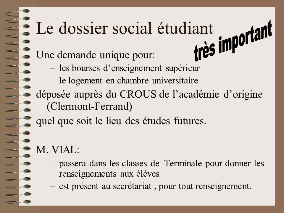 Le dossier social étudiant Une demande unique pour: –les bourses denseignement supérieur –le logement en chambre universitaire déposée auprès du CROUS