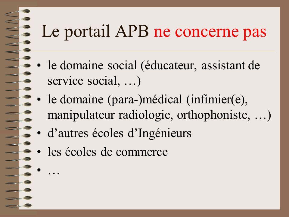 Le portail APB ne concerne pas le domaine social (éducateur, assistant de service social, …) le domaine (para-)médical (infimier(e), manipulateur radi