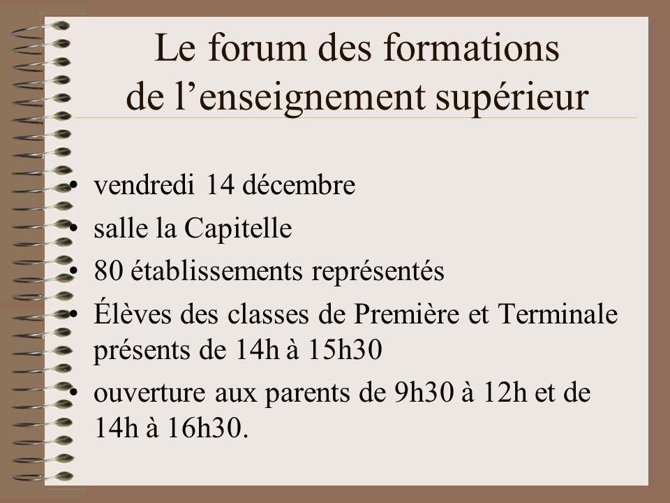 Le forum des formations de lenseignement supérieur vendredi 14 décembre salle la Capitelle 80 établissements représentés Élèves des classes de Premièr