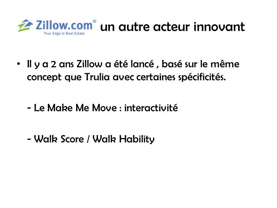 un autre acteur innovant Il y a 2 ans Zillow a été lancé, basé sur le même concept que Trulia avec certaines spécificités.