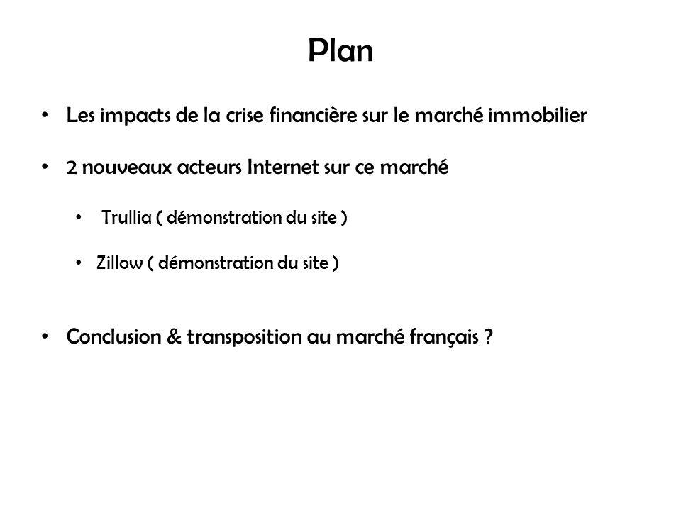 Plan Les impacts de la crise financière sur le marché immobilier 2 nouveaux acteurs Internet sur ce marché Trullia ( démonstration du site ) Zillow ( démonstration du site ) Conclusion & transposition au marché français