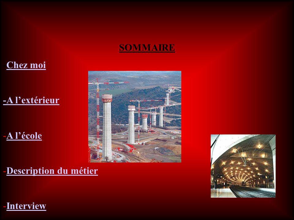 SOMMAIRE -Chez Chez moi -A lextérieur -A A lécole -Description Description du métier -InterviewInterview