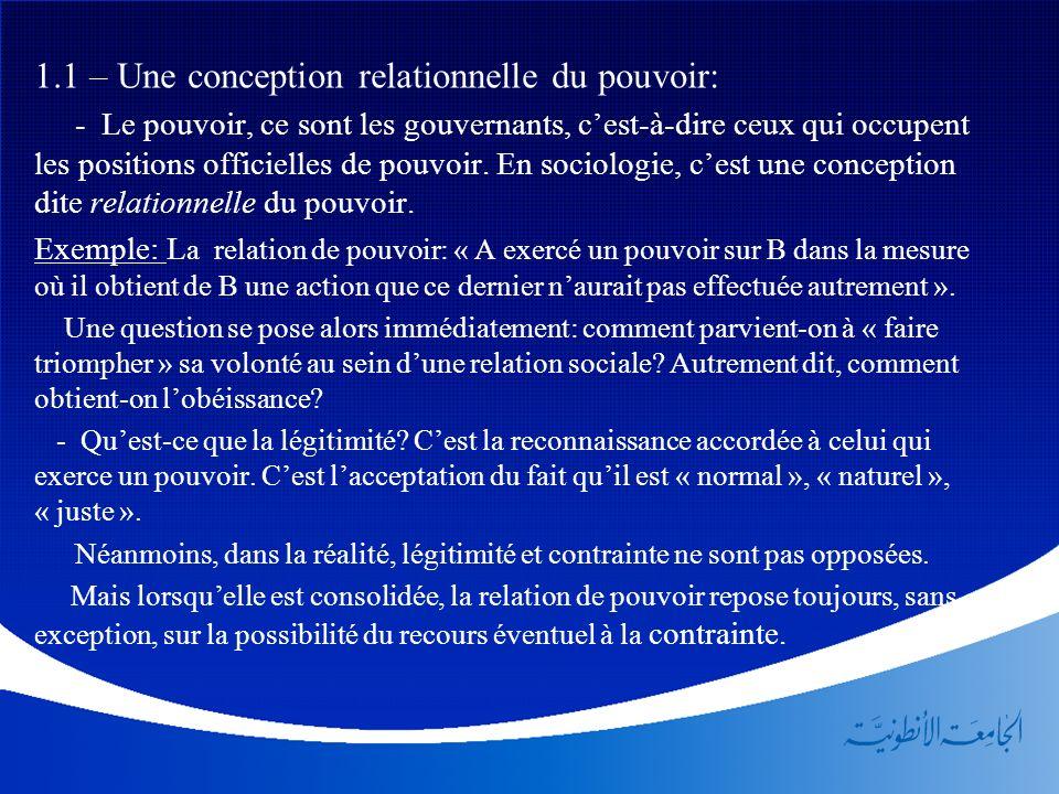 1.1 – Une conception relationnelle du pouvoir: - Le pouvoir, ce sont les gouvernants, cest-à-dire ceux qui occupent les positions officielles de pouvo