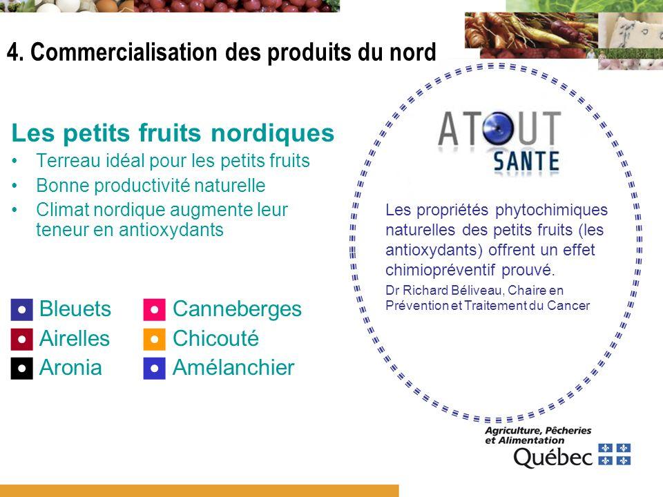 Les petits fruits nordiques Terreau idéal pour les petits fruits Bonne productivité naturelle Climat nordique augmente leur teneur en antioxydants Ble