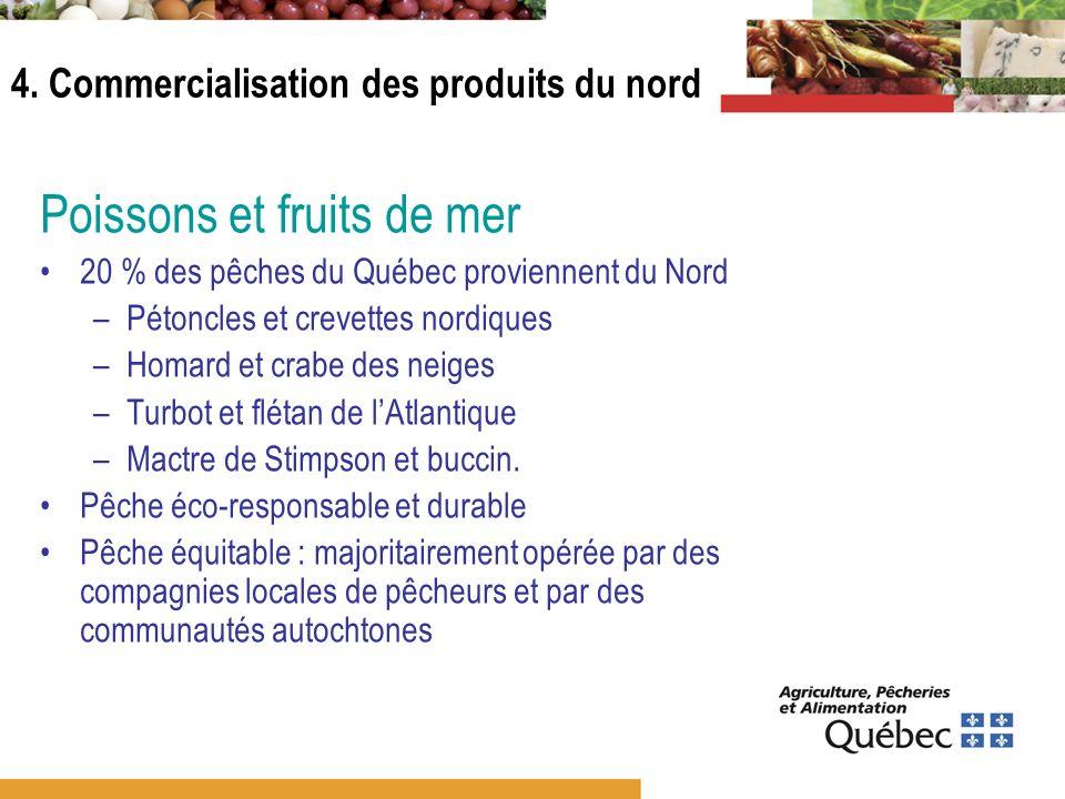 Poissons et fruits de mer 20 % des pêches du Québec proviennent du Nord –Pétoncles et crevettes nordiques –Homard et crabe des neiges –Turbot et fléta