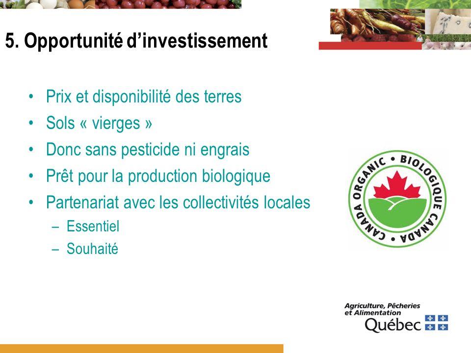 5. Opportunité dinvestissement Prix et disponibilité des terres Sols « vierges » Donc sans pesticide ni engrais Prêt pour la production biologique Par