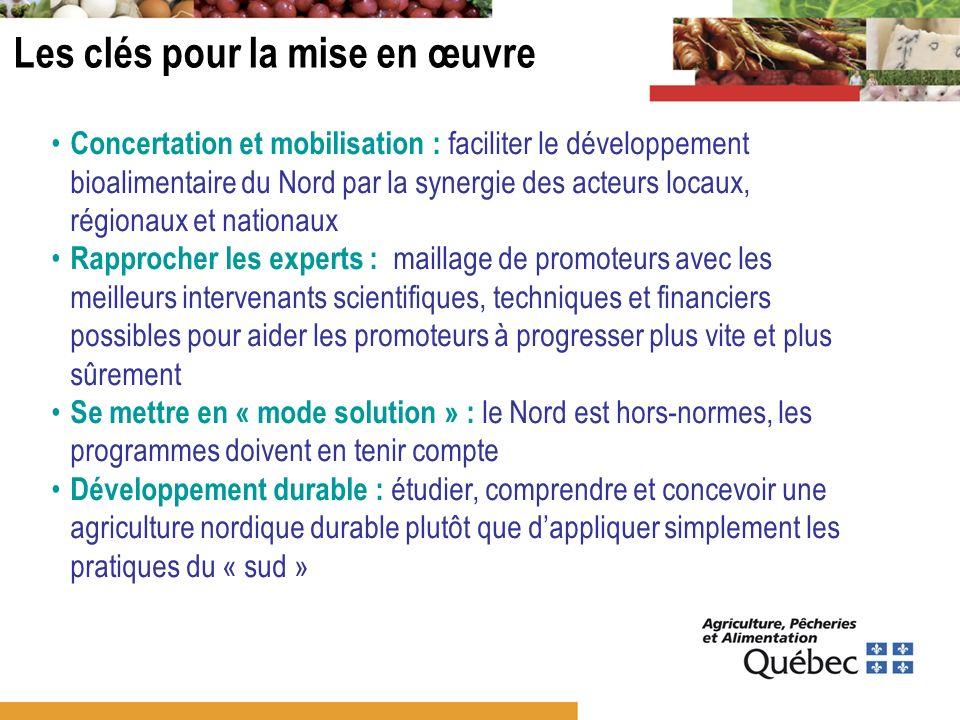 Les clés pour la mise en œuvre Concertation et mobilisation : faciliter le développement bioalimentaire du Nord par la synergie des acteurs locaux, ré