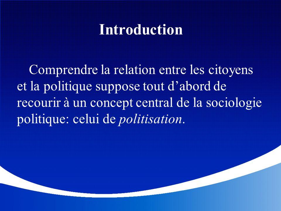 Introduction Comprendre la relation entre les citoyens et la politique suppose tout dabord de recourir à un concept central de la sociologie politique