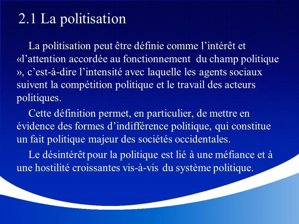 La politisation peut être définie comme lintérêt et «lattention accordée au fonctionnement du champ politique », cest-à-dire lintensité avec laquelle