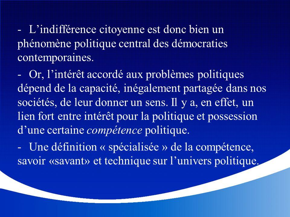 - Lindifférence citoyenne est donc bien un phénomène politique central des démocraties contemporaines. - Or, lintérêt accordé aux problèmes politiques