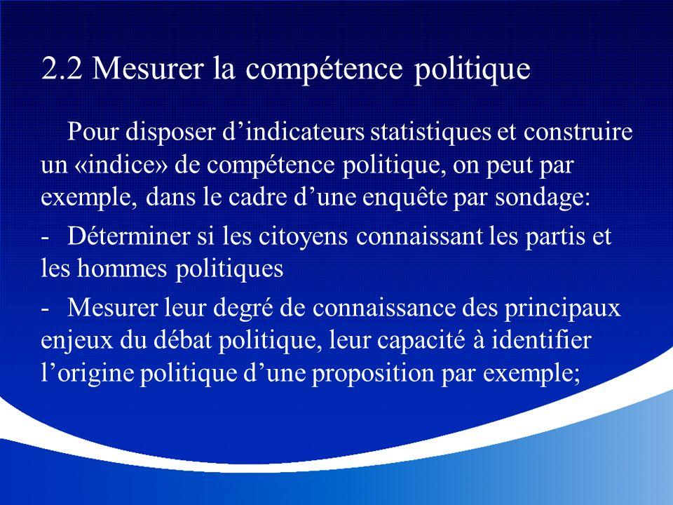 Pour disposer dindicateurs statistiques et construire un «indice» de compétence politique, on peut par exemple, dans le cadre dune enquête par sondage