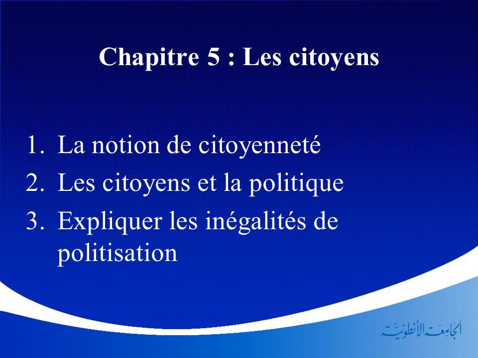Chapitre 5 : Les citoyens La notion de citoyenneté Les citoyens et la politique Expliquer les inégalités de politisation