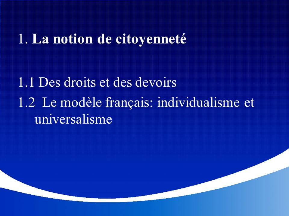 1. La notion de citoyenneté 1.1 Des droits et des devoirs 1.2 Le modèle français: individualisme et universalisme
