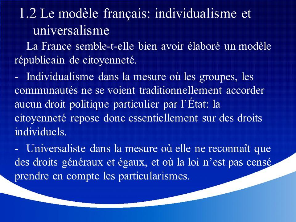 La France semble-t-elle bien avoir élaboré un modèle républicain de citoyenneté. - Individualisme dans la mesure où les groupes, les communautés ne se