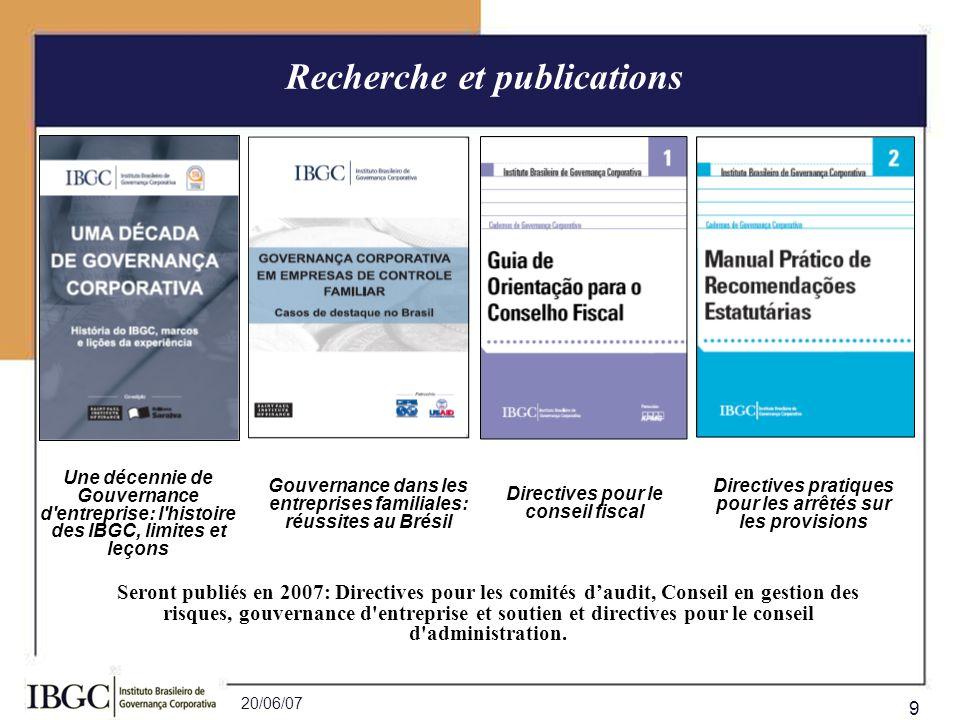 20/06/07 9 Recherche et publications Une décennie de Gouvernance d'entreprise: l'histoire des IBGC, limites et leçons Gouvernance dans les entreprises