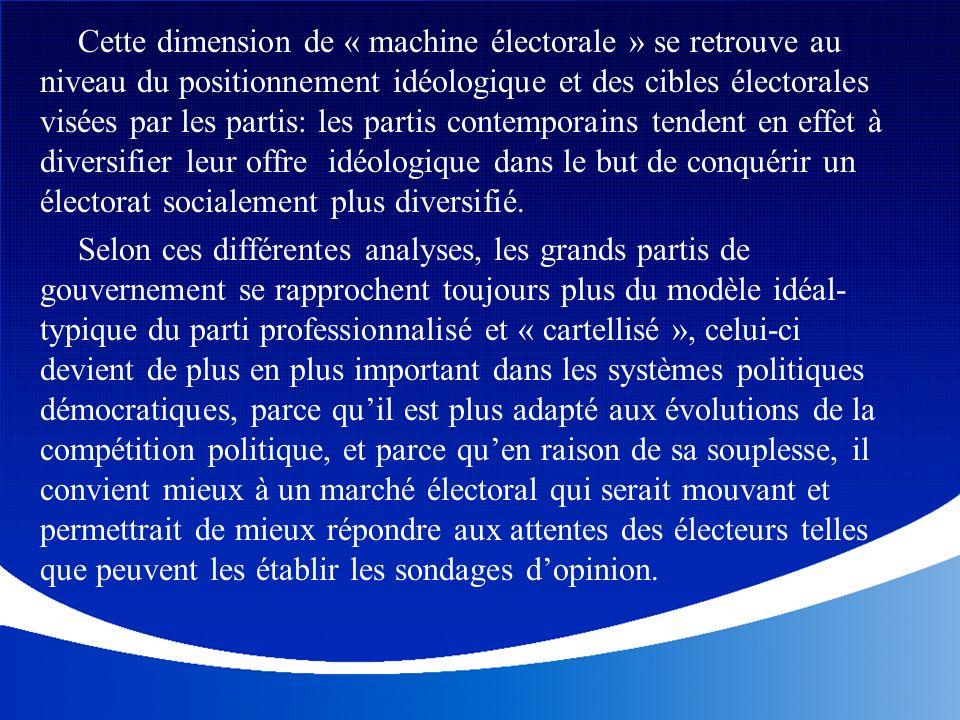 Cette dimension de « machine électorale » se retrouve au niveau du positionnement idéologique et des cibles électorales visées par les partis: les par