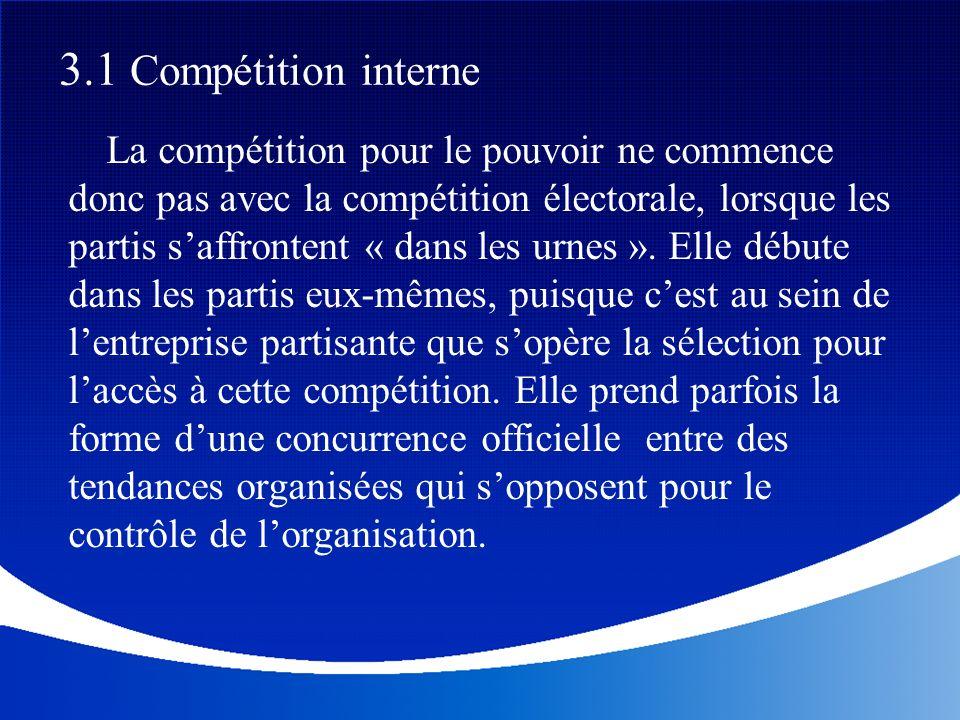 La compétition pour le pouvoir ne commence donc pas avec la compétition électorale, lorsque les partis saffrontent « dans les urnes ». Elle débute dan