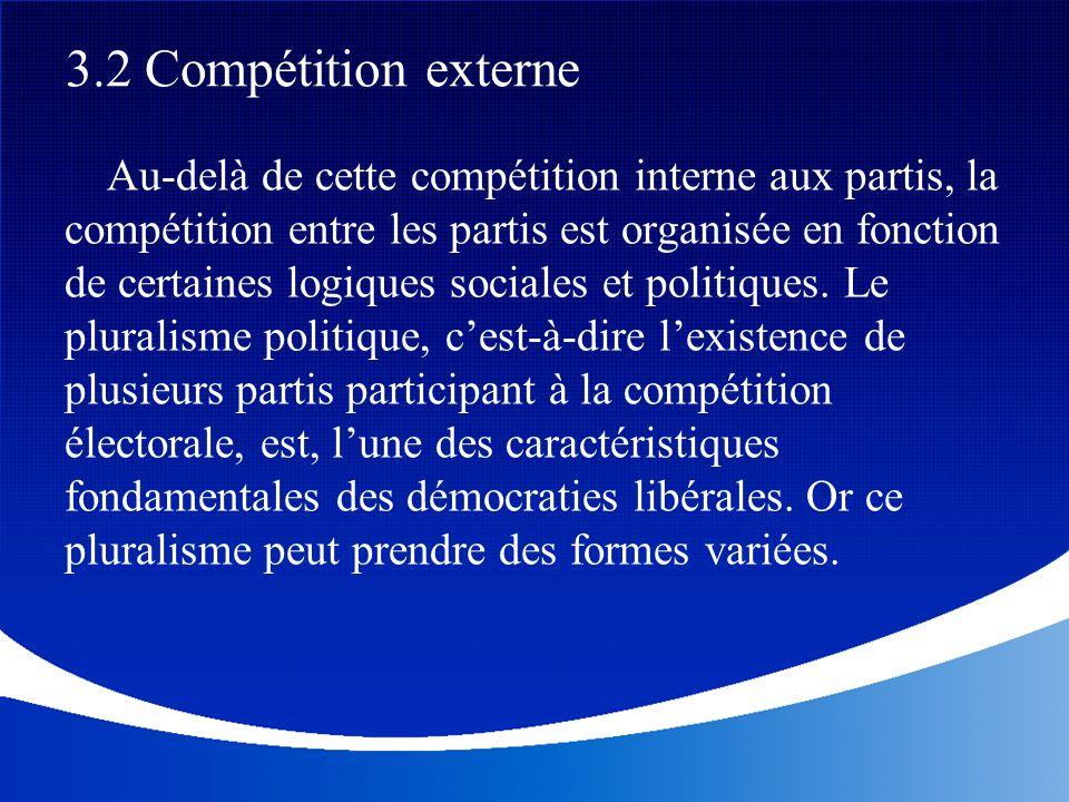 Au-delà de cette compétition interne aux partis, la compétition entre les partis est organisée en fonction de certaines logiques sociales et politique