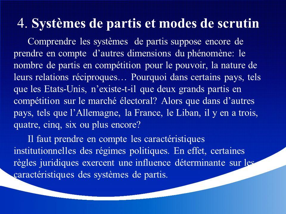 4. Systèmes de partis et modes de scrutin Comprendre les systèmes de partis suppose encore de prendre en compte dautres dimensions du phénomène: le no