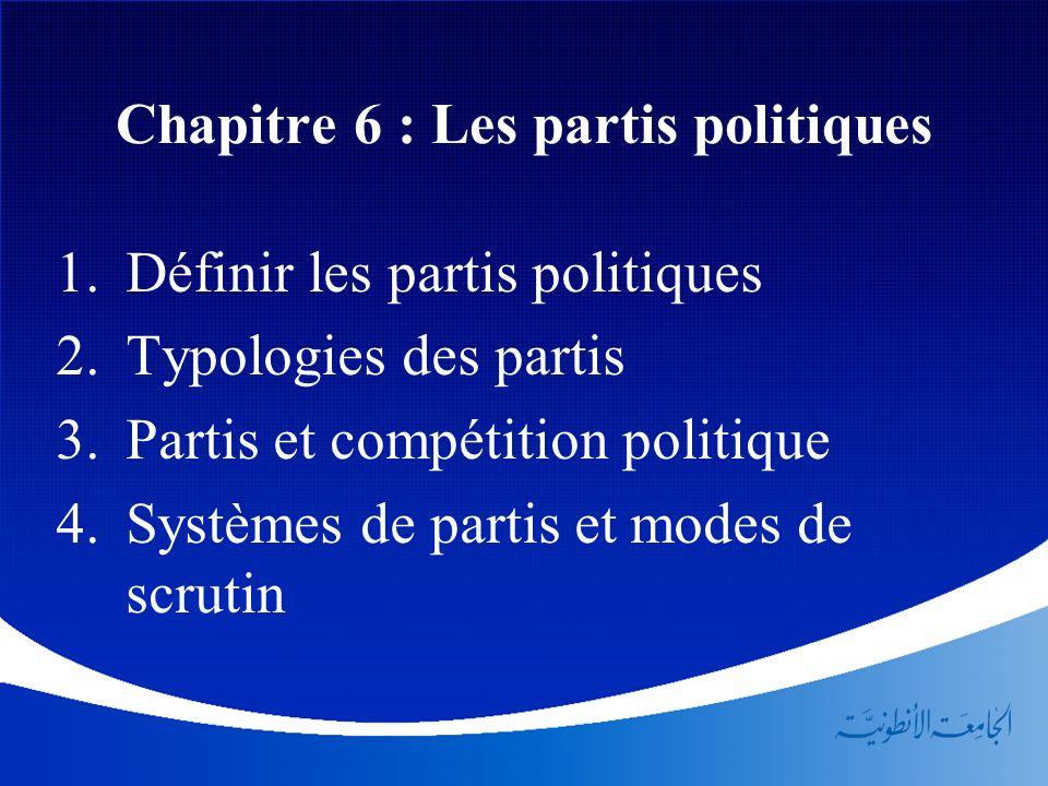 Chapitre 6 : Les partis politiques Définir les partis politiques Typologies des partis Partis et compétition politique Systèmes de partis et modes de