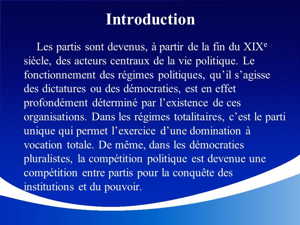 Introduction Les partis sont devenus, à partir de la fin du XIX e siècle, des acteurs centraux de la vie politique. Le fonctionnement des régimes poli