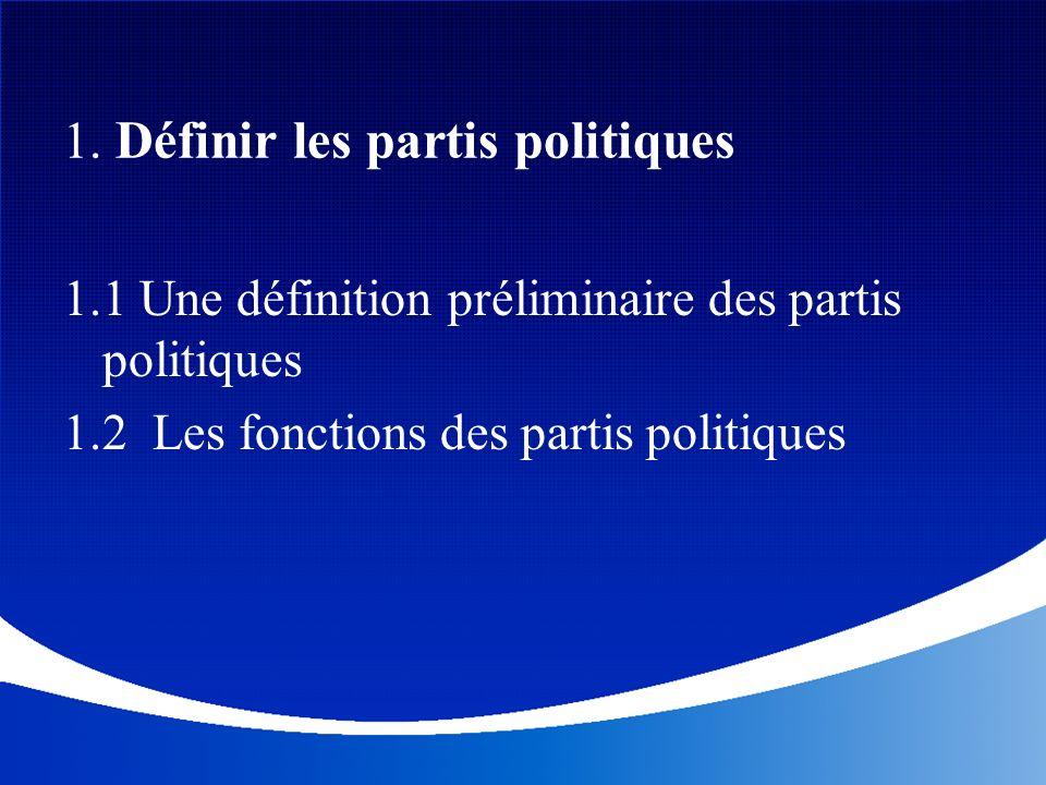1. Définir les partis politiques 1.1 Une définition préliminaire des partis politiques 1.2 Les fonctions des partis politiques