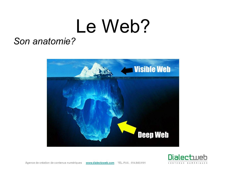 Le Web? Son anatomie? Agence de création de contenus numériques www.dialectoweb.com TÉL./FAX. : 514.845.9191 www.dialectoweb.com