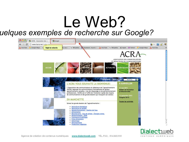 Le Web? Quelques exemples de recherche sur Google? Agence de création de contenus numériques www.dialectoweb.com TÉL./FAX. : 514.845.9191 www.dialecto