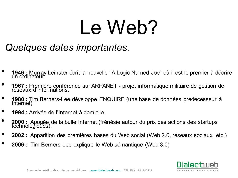 Le Web? Quelques dates importantes. 1946 : Murray Leinster écrit la nouvelle A Logic Named Joe où il est le premier à décrire un ordinateur. 1967 : Pr