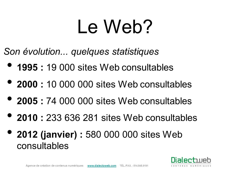 Le Web? 1995 : 19 000 sites Web consultables 2000 : 10 000 000 sites Web consultables 2005 : 74 000 000 sites Web consultables 2010 : 233 636 281 site