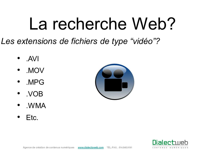 La recherche Web? Les extensions de fichiers de type vidéo?.AVI.MOV.MPG.VOB.WMA Etc. Agence de création de contenus numériques www.dialectoweb.com TÉL