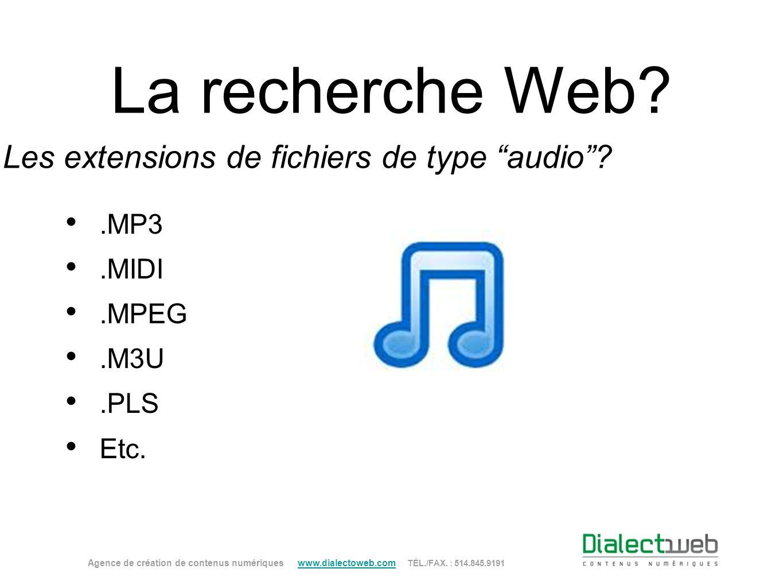 La recherche Web? Les extensions de fichiers de type audio?.MP3.MIDI.MPEG.M3U.PLS Etc. Agence de création de contenus numériques www.dialectoweb.com T