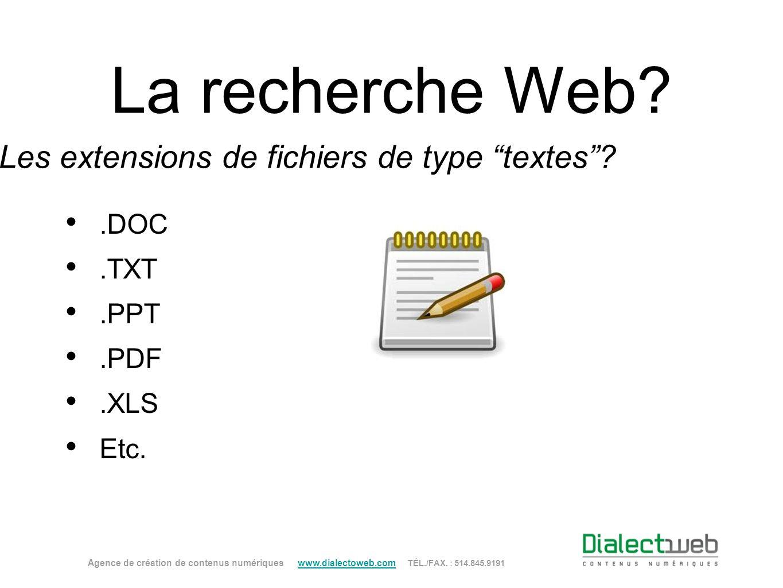 La recherche Web? Les extensions de fichiers de type textes?.DOC.TXT.PPT.PDF.XLS Etc. Agence de création de contenus numériques www.dialectoweb.com TÉ