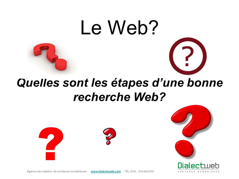 Le Web? Quelles sont les étapes dune bonne recherche Web? Agence de création de contenus numériques www.dialectoweb.com TÉL./FAX. : 514.845.9191 www.d
