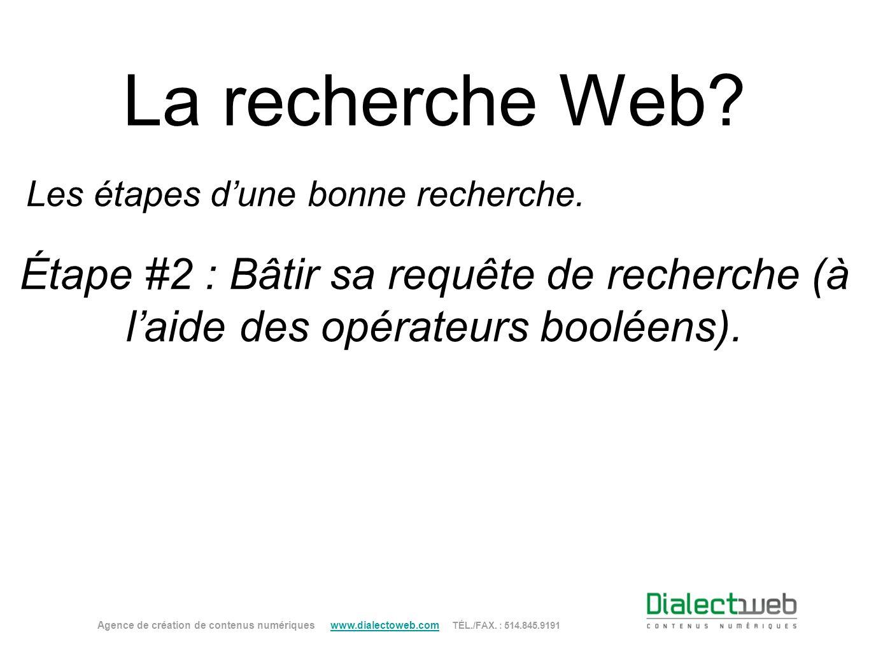 La recherche Web? Étape #2 : Bâtir sa requête de recherche (à laide des opérateurs booléens). Agence de création de contenus numériques www.dialectowe