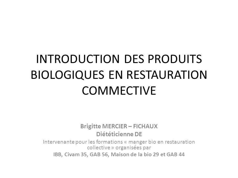 INTRODUCTION DES PRODUITS BIOLOGIQUES EN RESTAURATION COMMECTIVE Brigitte MERCIER – FICHAUX Diététicienne DE Intervenante pour les formations « manger