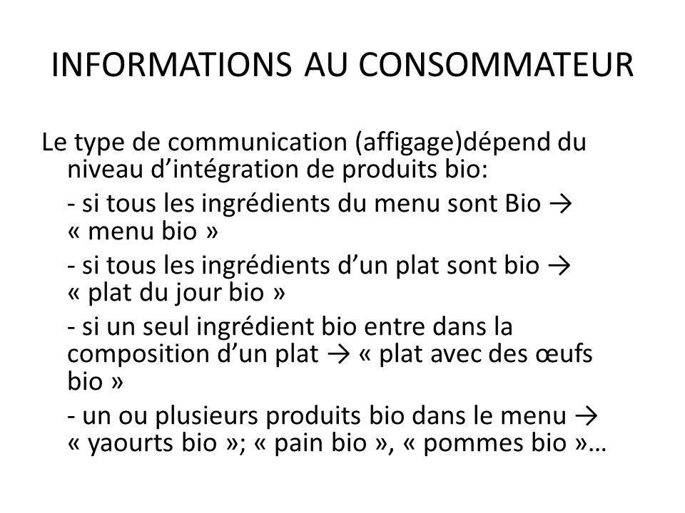 INFORMATIONS AU CONSOMMATEUR Le type de communication (affigage)dépend du niveau dintégration de produits bio: - si tous les ingrédients du menu sont