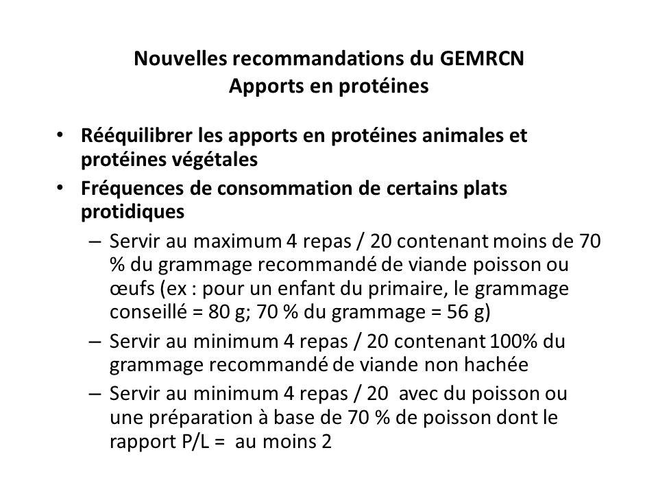 Nouvelles recommandations du GEMRCN Apports en protéines Rééquilibrer les apports en protéines animales et protéines végétales Fréquences de consommat
