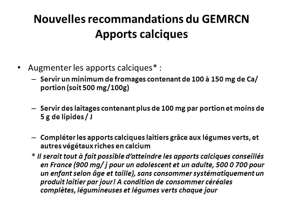 Nouvelles recommandations du GEMRCN Apports calciques Augmenter les apports calciques* : – Servir un minimum de fromages contenant de 100 à 150 mg de