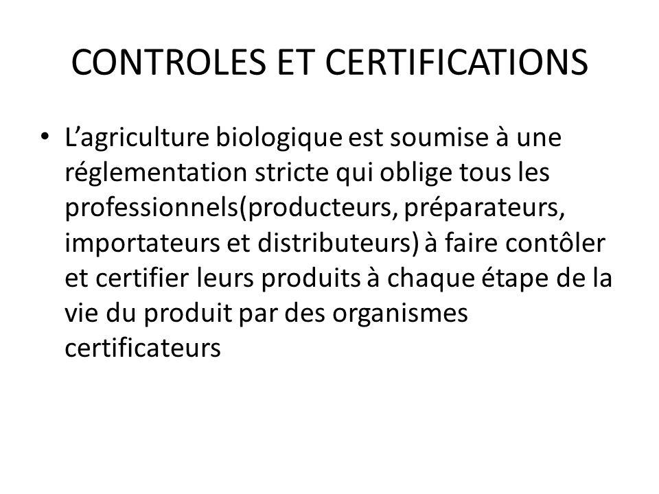 CONTROLES ET CERTIFICATIONS Lagriculture biologique est soumise à une réglementation stricte qui oblige tous les professionnels(producteurs, préparate